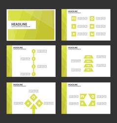 Green leaf presentation templates infographic set vector
