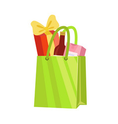 green paper shopping bag with bottle wine and vector image