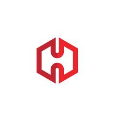 h logo hexagon icon vector image