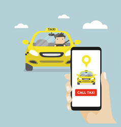 hand holding smartphone and call taxi by phone vector image