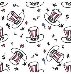 Holiday american hat seamless pattern vector image vector image