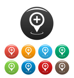 hospital map pointer icons set vector image