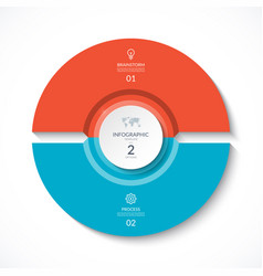 Infographic circle cycle diagram with 2 stages vector