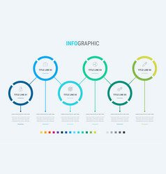 infographic template 6 steps rounded design vector image