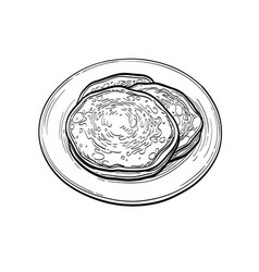 ink sketch pancakes vector image
