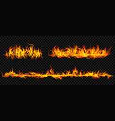 long horizontal fire flame vector image
