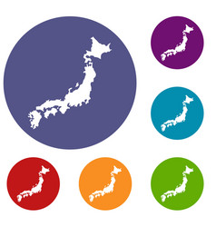 map of japan icons set vector image