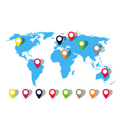 map world with pin location globe icon vector image