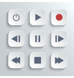 Media player control button ui icon set vector image vector image