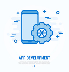 Mobile app development thin line icon vector