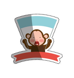 monkey cartoon banner holding animal vector image