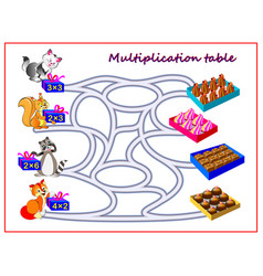 multiplication table with labyrinth for kids vector image
