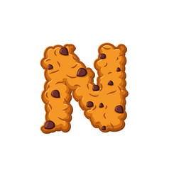 N letter cookies cookie font oatmeal biscuit vector