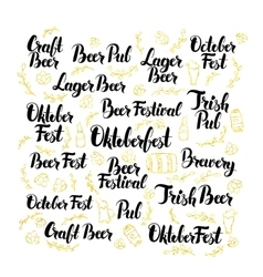 October beer fest lettering design set vector