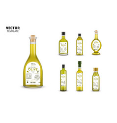 olive oil glass bottles with labels vector image