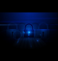 padlock with cyber data security concept vector image