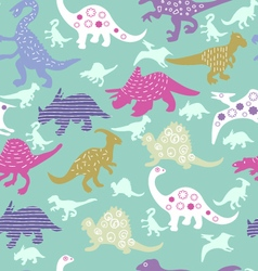 Pattern of colorful different dinosaur s vector