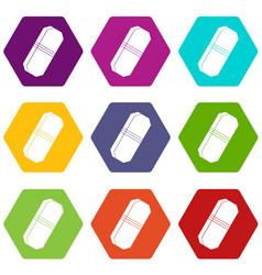 pencil eraser icon set color hexahedron vector image