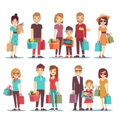 People shopping in mall cartoon characters vector