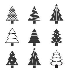 Pine tree set silhouette icon vector