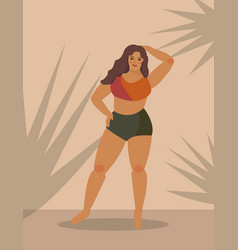 Plus size woman posing while standing body vector