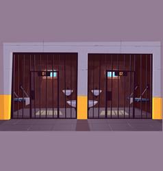 prison single cells interior cartoon vector image