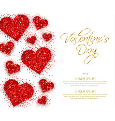 red glitter hearts valentine day romantic vector image