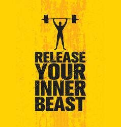 Release your inner beast workout and fitness gym vector