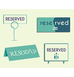 Reservation sign mock up template Save water vector image
