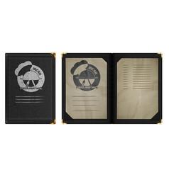 Restaurant menu notebook in black leather binding vector