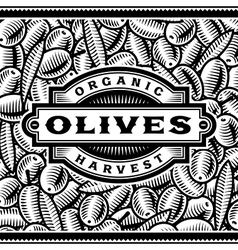 Retro Olive Harvest Label Black And White vector image