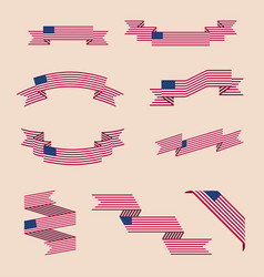 Ribbons or banners in colors usa flag vector