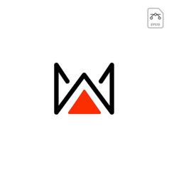 Royal w logo initial icon element element isolated vector