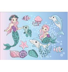 Sea clip arts mermaids vector