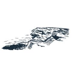 Sea rock cliff sketch landscape line skyline vector