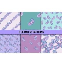 Seamless paisley pattern set vector