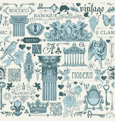 seamless pattern with sketches in vintage style vector image