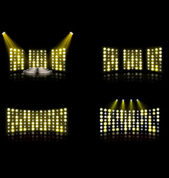 set bright stadium arena lighting spotlight vector image