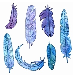 set of watercolor feathers vector image