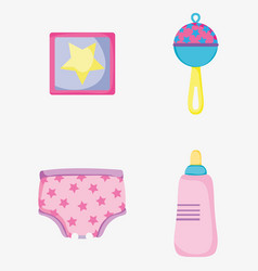 Set picture with baby rattle and feeding bottle vector