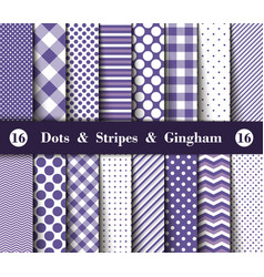 Set seamless polka dots gingham with large vector