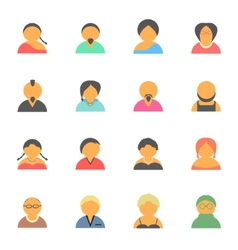 set simple face avatar people icons vector image