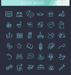 simple set of sleep related line icons vector image