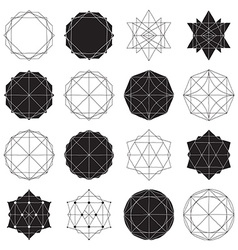 Simple set with black filled and hollow geometric vector