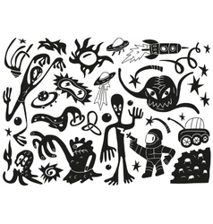 Space invaders aliens - doodles set part 1 vector
