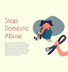 Stop domestic abuse cartoon vector