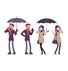 Stylish man woman in autumn clothes with umbrella vector