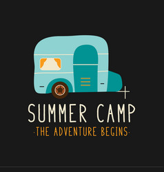 T shirt design with camper for summer camp vector