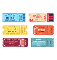 Theatre cinema ticket best party gold welcome set vector