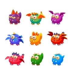 Toy Alien Monsters With And Without Wings vector